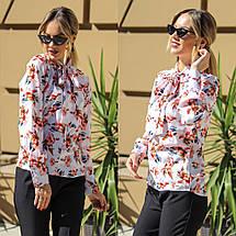 """Нарядная женская блуза в цветочек """"Hanna"""" с воротником-бантом (2 цвета), фото 2"""