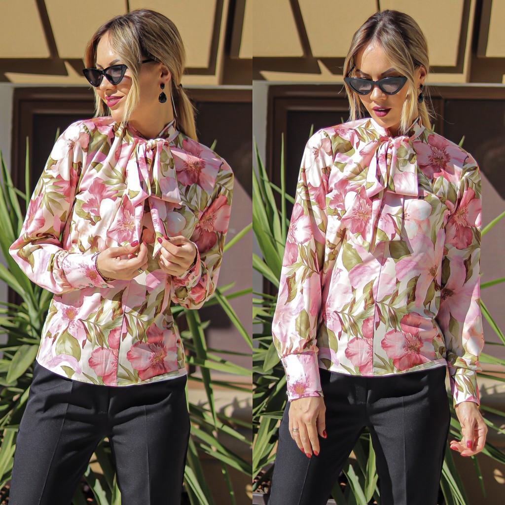 """Нарядная женская блуза в цветочек """"Hanna"""" с воротником-бантом (2 цвета)"""