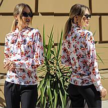 """Нарядная женская блуза в цветочек """"Hanna"""" с воротником-бантом (2 цвета), фото 3"""