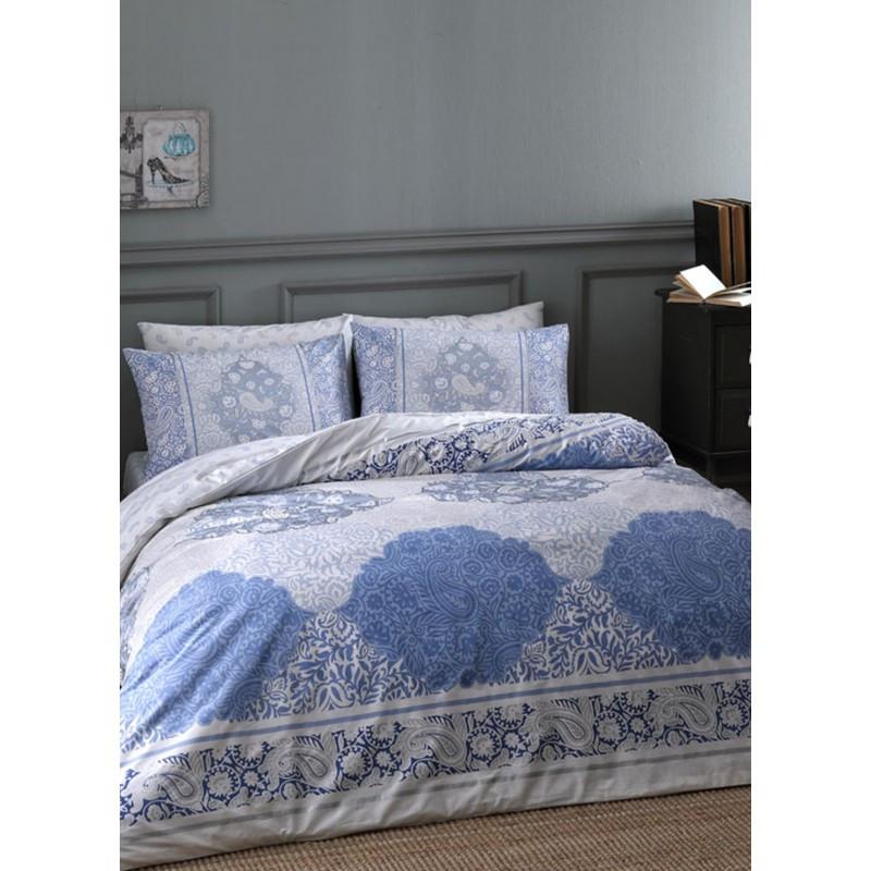 Постельное белье Tac ранфорс - Aryan mavi v01 голубой семейное
