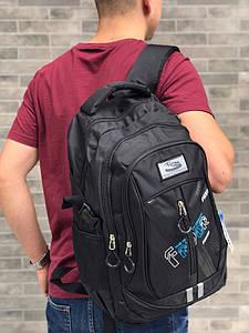 Качественный рюкзак  . Код 009 чорний з блакитним