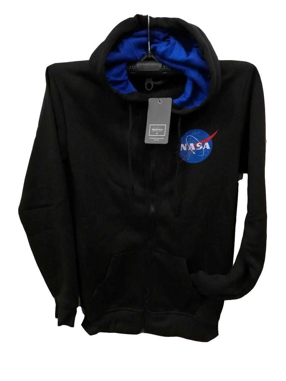 Мужская кофта на молнии Madmext теплая с капюшоном с эмблемой NASA