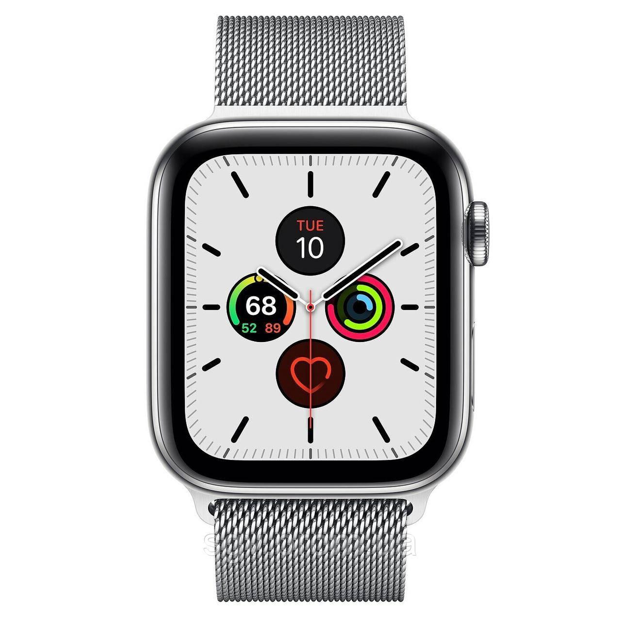 Apple Watch Series 5 GPS 44mm Stainless Steel Case Milanese Loop Silver