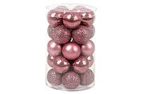 Набор ёлочных шаров 3 см, цвет: розовый бархат, 25 шт: 5 шт - матовый, 10 шт - глянец, 10 шт - глитер