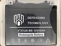 Аккумулятор мото 12В 12Ач Defending Technology YTX12A-BS
