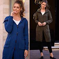 Кардиган женский повседневный, вязка, теплый, на пуговицах, удлиненный, модный, стильный, с карманами