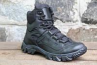 Тактические ботинки берцы из натуральной кожи черного цвета  ХИШНИК