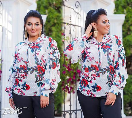 Шифоновая блуза с цветочным принтом, фото 2