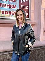 Кожаная женская куртка с капюшоном, фото 1