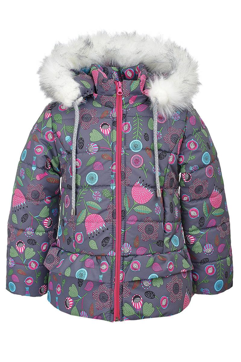 Зимняя куртка ANSK Цветы 104 серая 4510000Z