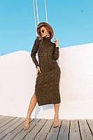 Женское вязаное платье с разрезом ниже колен 42-46