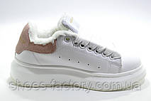 Зимние кроссовки в стиле Alexander McQueen, White\Белые на меху, фото 3