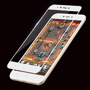 Захисне і загартоване скло GLASS для смартфона Xiaomi Redmi Note 5A з рамкою. Біле