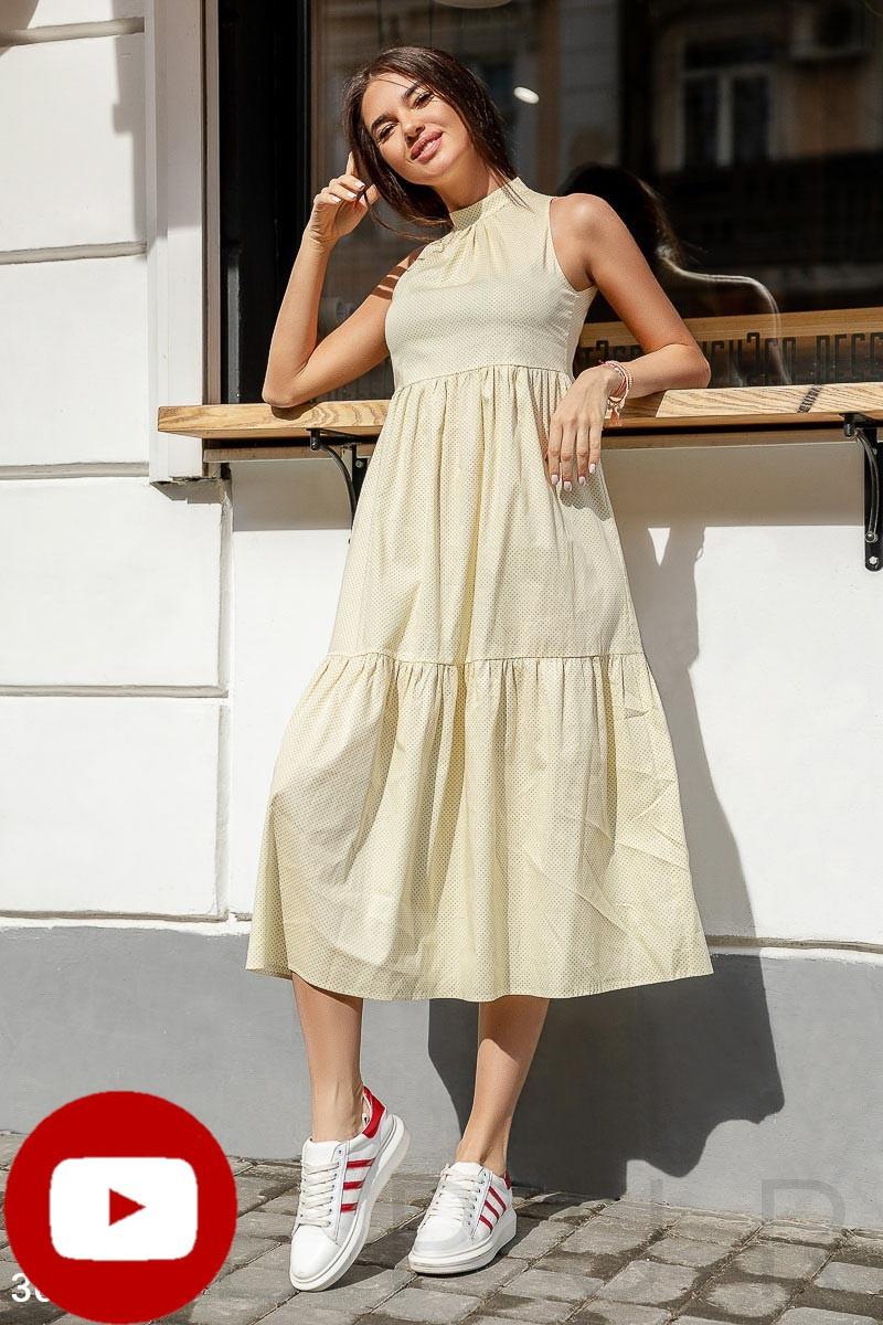 Плаття літнє довге вільне з котону дрібний горошок лимонне