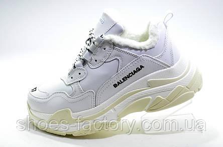 Зимние кроссовки в стиле Balenciaga triple s, White\Белые на меху, фото 2