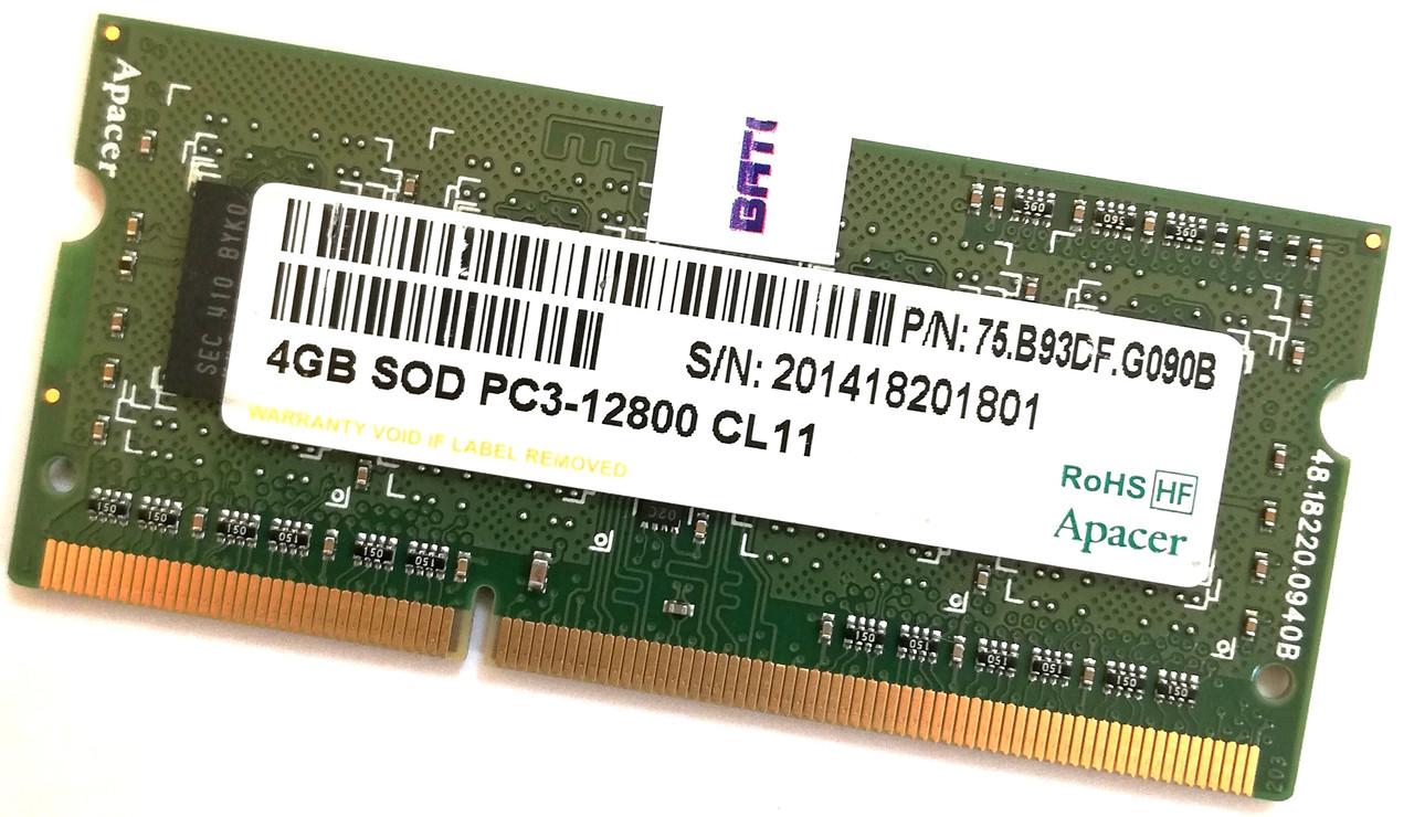 Оперативная память для ноутбука Apacer SODIMM DDR3 4Gb 1600MHz 12800 CL11 (75.B93DF.G090B) Б/У