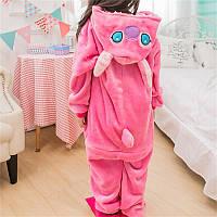Пижама Кигуруми Стич розовый микрофибра (велсофт) детский