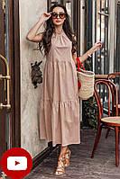 Свободное длинное платье из хлопка в гороховый принт бежевое