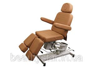 Кресло кушетка для педикюра на электроуправлении с раздвижными ножками 3706 Светло-коричневый
