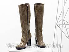 Сапоги женские Gino Figini М-422-07 из натуральной лаковой кожи 38 Карамельный, фото 3