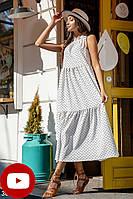 Свободное летнее белое платье а-силуэта без рукавов