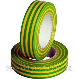 Изолента 0,18х19мм, желто-зеленая 20м, ІЕК