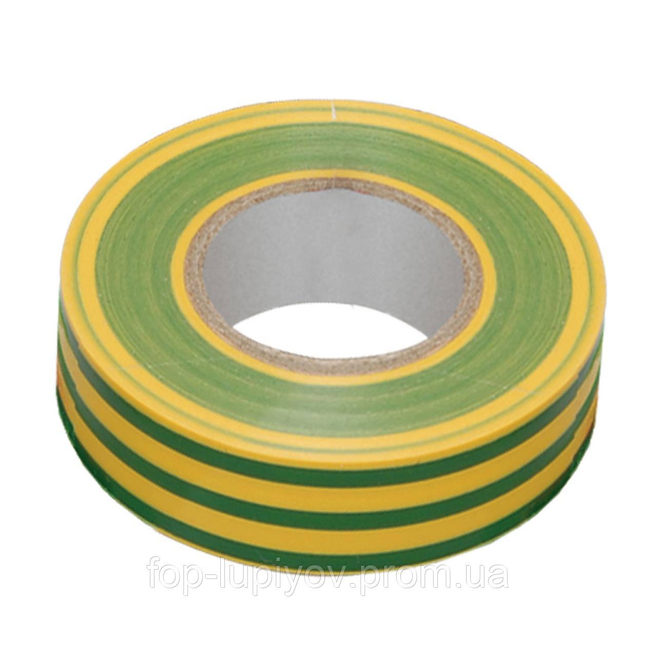 Изолента 0,13х15мм, желто-зеленая 20м, ІЕК
