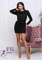 Платье туника с поясом карман  с длинным рукавом теплое  ангора софт 42 44 46 48 50 р, фото 1
