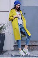 Пальто кашемировое Широкое жёлтое