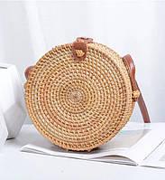 Женская круглая плетеная сумочка Rattan Bali 18х8 см из ротанга на кнопке