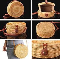 Женская круглая плетеная сумка Rattan Bali 20х7 см из ротанга на кнопке