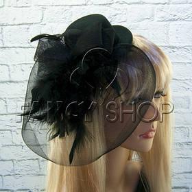 Капелюшок з вуаллю на Halloween, чорний, Шляпка с вуалью на хэллоуин хелловін