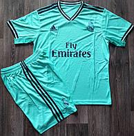 Детская футбольная форма Реал Мадрид сезон 2019-2020 резервная бирюзовая