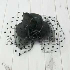 """Капелюшок """"Гламур"""" з трояндою і пером, чорний, Хелловін Шляпка """"Гламур"""""""