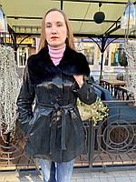Кожаная женская куртка черная с норкой в лазерном накате
