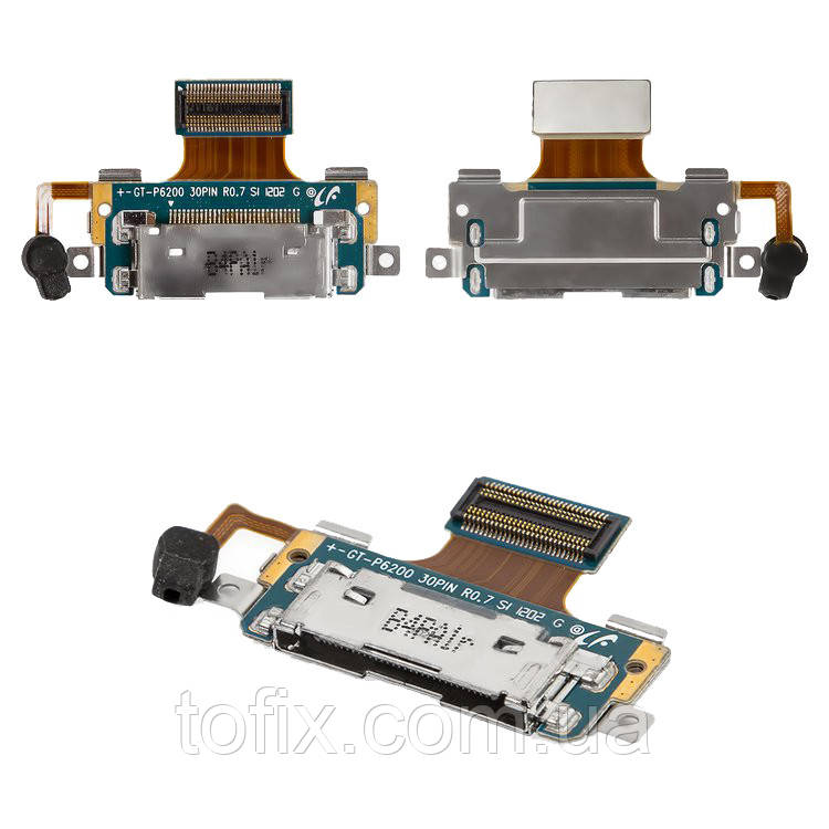 Шлейф для Samsung Tab Plus P6200, P6201, коннектора зарядки, микрофона, с компонентами, оригинал