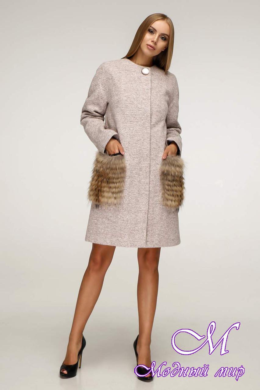 Стильное женское зимнее пальто чернобурка/енот (р. 44-60) арт. 966 Тон 111