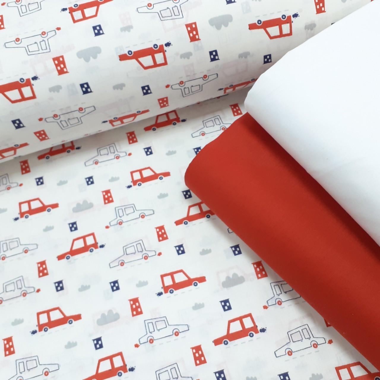 Хлопковая ткань (ТУРЦИЯ шир. 2,4 м) красные машинки на белом