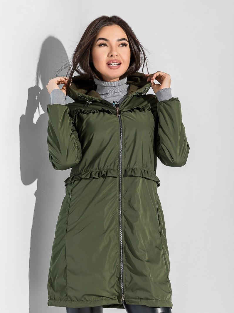 Женская куртка-парка утепленная флисом S M L