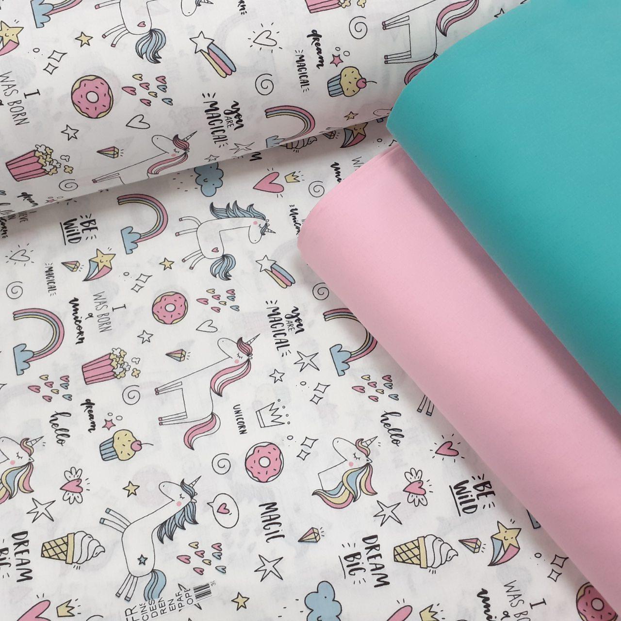 Хлопковая ткань (ТУРЦИЯ шир. 2,4 м) белые единороги с разноцветными сладостями