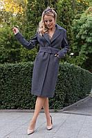 Демисезонное роскошное пальто миди синего цвета Кареро 7972, фото 1