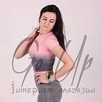 Спортивные футболки, короткая, топик градиент, женские футболочки для фитнеса, бега, спорта, футболка
