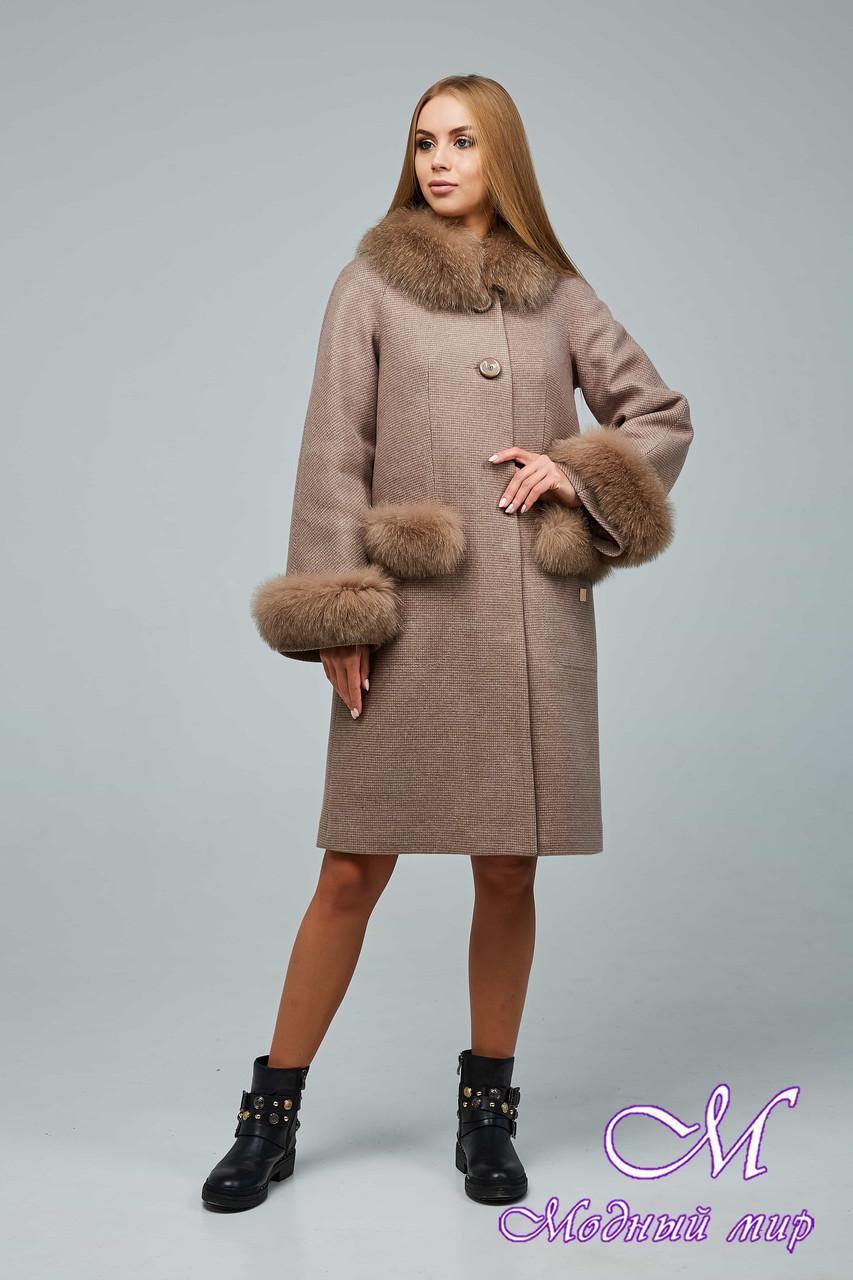 Женское шерстяное зимнее пальто (р. 44-54) арт. 1205 Тон 2