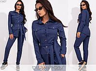 Повседневный костюм женский из джинса-стрейч НФ/-3265 - Синий, фото 1
