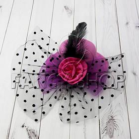 """Капелюшок """"Гламур"""" з трояндою і пером, рожевий, Хелловін, Шляпка """"Гламур"""""""