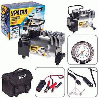 Автокомпрессор, автомобильный компрессор Ураган КА-У12050, насос для накачивания колес 40 л/мин, 200Вт, 10атм