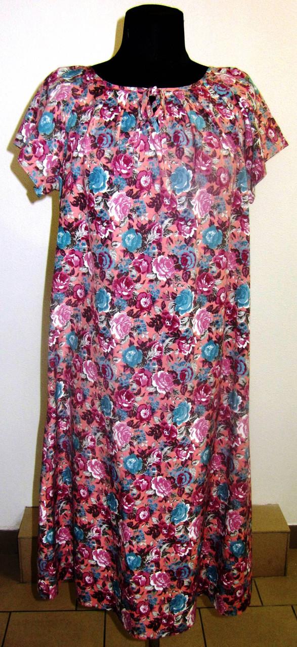 Платье  женское , длинное, сиреневое,летнее ,свободного кроя, 48, 50,52