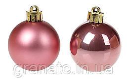 Новогодние елочные шары 4см, цвет - розовый бархат, 48 шт: перламутр и матовый