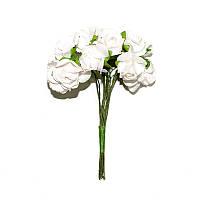 Цветы бумажные, розы, 1.5 см, БЕЛЫЕ, 12 шт