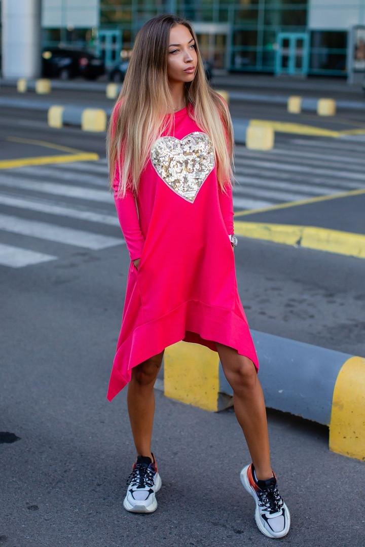 """Асимметричное трикотажное платье-туника """"Сердце"""" с длинным рукавом (3 цвета)"""